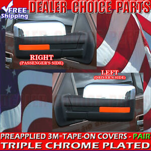 2009 2014 Ford F150 F 150 Abs Triple Chrome Mirror Covers Overlays Trim Top Half