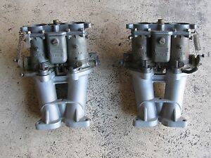 Solex 40 Pii 4 Split Shaft Carburetor Manifold Pair Porsche 356