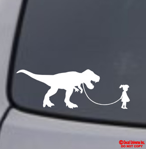 Girl Walking Tyrannosaurus Rex Vinyl Decal Sticker Car Window Wall Bumper Funny