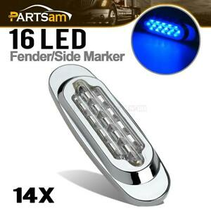 14x 6 5 clear blue 16led Trailer Side Marker Light Clearance Sealed For Kenworth