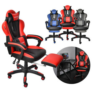 Office Computer Gaming Chair Pu Racing Style High Back Ergonomic Seat Footrest