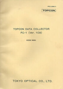 New Topcon Data Collector Fc 1 ver 109 Instruction Manual