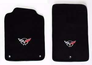 New Floor Mats 1998 2004 Corvette With Embroidered Circle Emblem Logo Pair Set