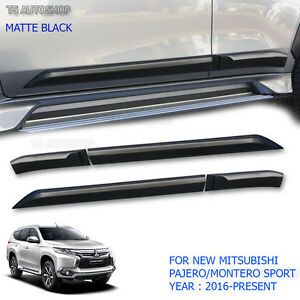 Side Door Body Molding Cladding Mitsubishi Pajero Montero Sport Matte Black 2016