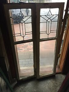 Sg 1033 Match Pair Antique Leaded Glass Cabinet Doors 33 X 54