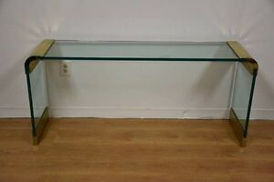 Pace Glass And Brass Sofa Table Mid Century