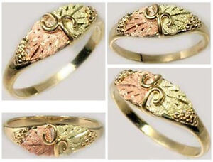 Handcrafted Black Hills 12kt Red Green Gold Grape Leaves Ancient Celts Vikings