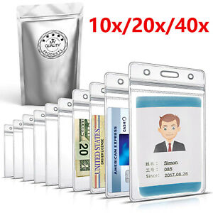 20x 40x Id Card Holder Clear Plastic Badge Resealable Waterproof Business Case