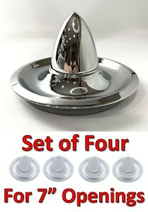 New Set Of 4 Chevrolet Rally Wheel Chrome Bullet Center Hubcaps Hot Rod Rat Rod