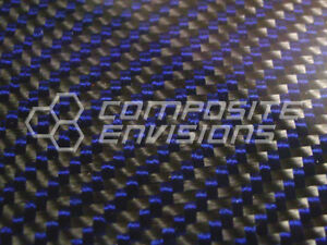 Carbon Fiber Panel Made With Kevlar Blue 185 4 7mm 2x2 Twill epoxy 12 x24