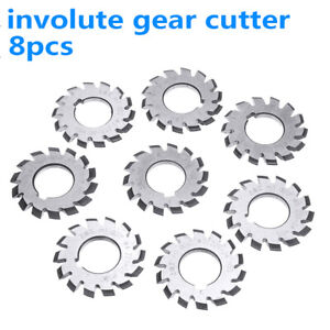 8pcs Hss M1 Diameter 22mm Pa20 20 Degree 1 8 Involute Gear Cutters Set