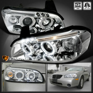 For 2000 2001 Nissan Maxima Crystal Clear Led Drl Halo Projector Headlights Pair