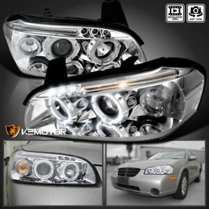 Chrome Led Halo Projector Headlights For 2000 2001 Nissan Maxima