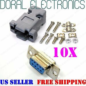 10x Db9 9 pin Female Solder Cup Connectors Plastic Hood Shell Hardware Db 9
