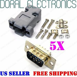 5x Db9 9 pin Male Solder Cup Connector Plastic Hood Shell Hardware Db 9