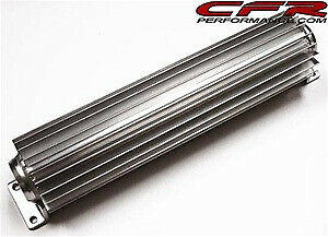 Dual Pass 15 Inch Long Finned Aluminum Transmission Cooler 1 4 Inch Npt Fitting