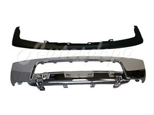 For 05 08 Frontier Front Steel Bumper Chrome Face Bar Upper Cap W o Fog Hole 2pc
