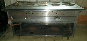 Gas 5 Well Water Bath Hotel Pan Steam Table Hot Food Buffet Round Soup Insert
