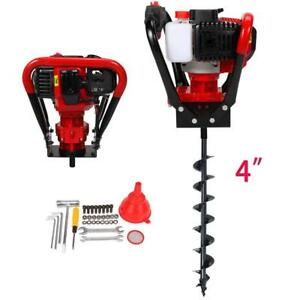 2 3hp 56cc Power Engine Gas Powered One Man Post Hole Digger 4 Auger Bits Ce