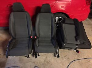 10 14 Vw Jetta Wagon Black Cloth Heated Front Seat Complete Set