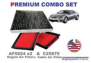 2x Air Filter 1 Charcoal Cabin Air Filter Set Fits Infiniti G37 Ex37 G25