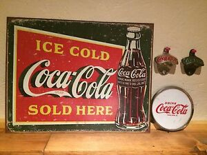 Coca  Cola Vintage Rare 1930s Sign and Plaque / Brass and Germany Bottle Opener