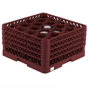 Commercial Dishwasher Tall Glass Rack Max Full size Burgundy 20 compartment Wine