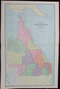 Queensland Australia 1888 Very Large Detailed Antique Map Color