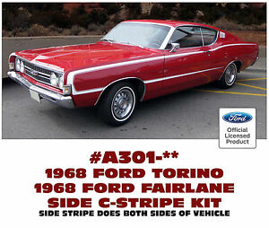 Ge A301 1968 Ford Torino And Fairlane Gt Side C Stripe Factory Replacement