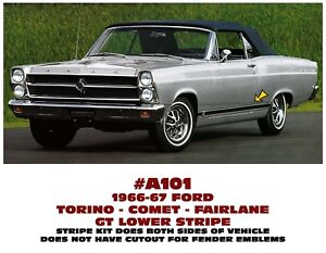 Ge a101 1966 67 Ford Torino Comet Fairlane Gt Lower Side Stripe Decal Kit