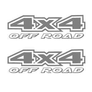 2 Silver 4x4 Off Road Decal Sticker Ford Gmc Chevy Dodge Ram 1500 2500 F150 F250