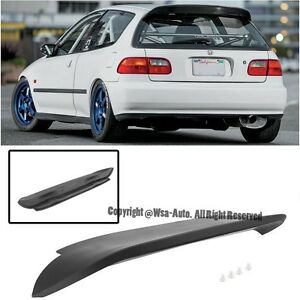 For 92 95 Honda Civic Hatch Spoon Style Roof Spoiler Wing Eg Jdm Abs Plastic