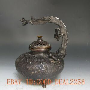 Chinese Vintage Handwork Bronze Carved Dragon Incense Burners 0040