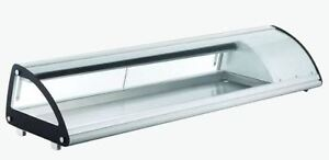 Omcan Rs cn 0103 sc 69 Refrigerated Curved Glass Sushi Display Case Brand New