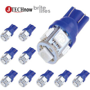 Jtech 10x T10 5 Smd Led Blue Super Bright Car Lights Bulb W5w 194 168 2825