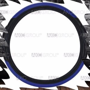 High Quality Racing Style Steering Wheel Cover Blue Black For Univ Standard Fit
