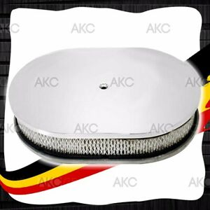 12 Smooth Chrome Plated Aluminum Oval Air Cleaner For Chevy Ford Mopar