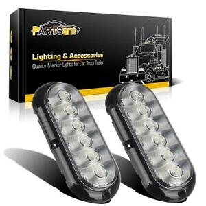 2x 6 Led White Surface Mount 6 Oval Stop Turn Reverse Tail Marker Lights Sealed