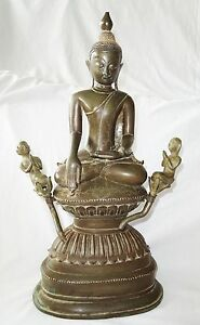 18ct Burmese Mandalay School Seated Bronze Buddha W 2x Attendent Figures Je