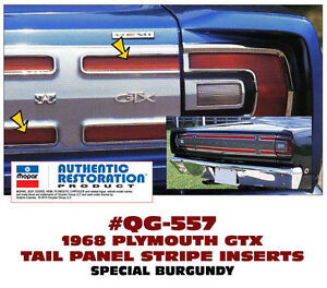 Ge Qg 557 1968 Plymouth Gtx Tail Panel Stripe Kit Special Burgundy