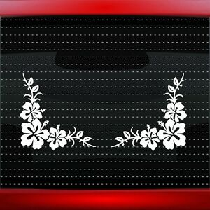 Hibiscus 14 Pair Hawaiian Flower Cute Car Decal Window Sticker 20 Colors