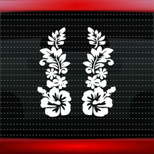 Hibiscus 4 Pair Hawaiian Flower Cute Car Decal Window Sticker 20 Colors