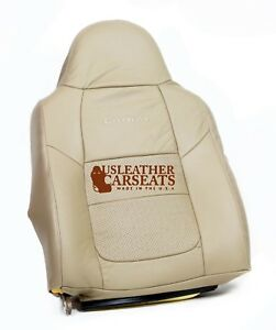 2001 Ford F250 F350 Lariat Driver Lean Back Perforated Leather Seat Cover Tan