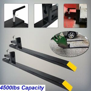 Pro 4500lbs Loader Hd Clamp On Pallet Forks Bucket Skidsteer Tractor Chain