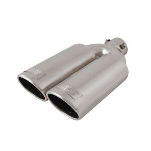 Universal Slanted Round Dtm Stainless Steel Bolt On Exhaust Muffler Dual Tip