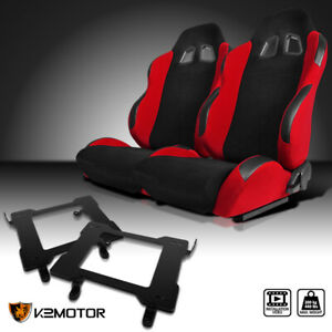 1999 2004 Ford Mustang Red Cloth Pvc Leather Racing Seats laser Welded Brackets