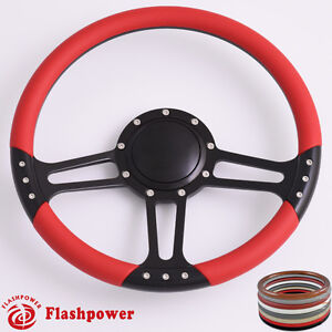 14 Billet Steering Wheels Red Half Wrap Hot Rod Gm Buick Riviera Lesabre
