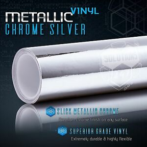 Silver Chrome Mirror Vinyl Wrap Film Roll Sheet Air Bubble Free 12 X 60 In