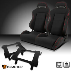 99 04 Ford Mustang Black Cloth Red Stitching Racing Seats Laser Welded Brackets
