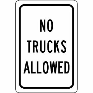 No Trucks Allowed Aluminum Metal Sign 8 X 12 Safety And Street Sign